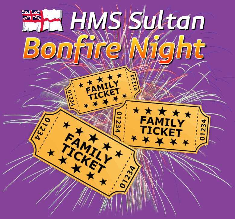WIN 1 of 3 Family Tickets to HMS Sultan Bonfire & Fireworks night